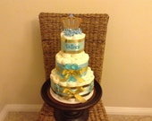 Little Prince Baby Boy Blue and Silver Shower Diaper Cake Centerpiece other Colors and sizes too
