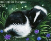 ACEO Limited Edition PRINT Hand Embellished Skunk Sleep Cute Nature Forest Animal Wildlife ART