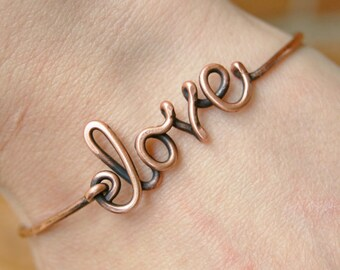 Love Bracelet, Bangle. Copper, Oxidized, Custom sized, Wire Jewelry