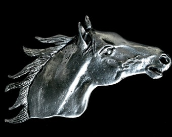 Stallion Horse Head Brooch Pin in Fine Pewter by Treasure Cast Pewter 06.0753