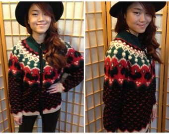 80s scottie dog christmas cardigan sweater womens size medium or large