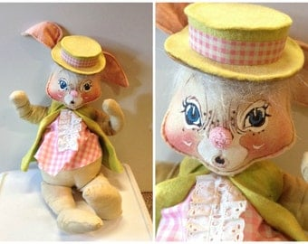 "70s Annalee Easter Bunny flexible doll 20"" tall"