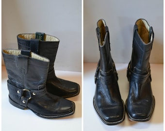 80s Caballo black leather engineer boots childrens size 9
