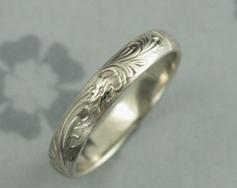 White Gold Wedding Band--Woman's Floral Wedding Ring--White Gold Neoclassic Design--Vintage Style Floral Ring--Antique Style Band