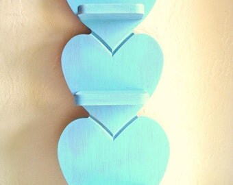 Shabby Chic Turquoise Wood Heart Wall Shelf Wooden Rustic