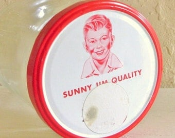 SALE Large Old Happy Jim Peanut Butter Jar with Bright Red and White Lid