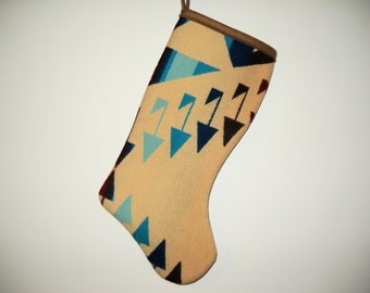 Christmas Stocking XL Wool Winter White and Turquoise Arrows B Southwestern Tribal Handcrafted Using Fabric from Pendleton Woolen Mill