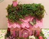 Faerie Glitter Cottage 3-D - sweet fairy house with flowers mushrooms swarovski door crystal and dragonfly too! ooak all handmade