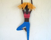 Metal art wall sports decor - Yoga Lady - upcycled metal wall sculpture exercise room workout blonde blue turquoise magenta