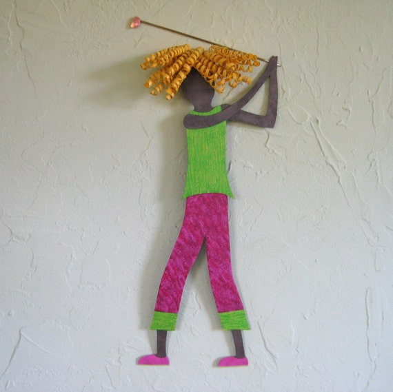 Metal Golf Wall Decor : Metal wall art female figure golf decor by frivoloustendencies