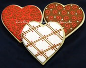 Heart Cookies - Red Brown and Cream Collection - 6 cookies