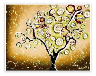 Custom Family Tree of Life Art Print, Custom Name Art Wall Decor, Rustic Wall Decor, Brown Khaki Tree Print Signed Print