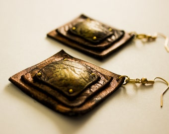 Copper square dangle earrings Leather Jewelry
