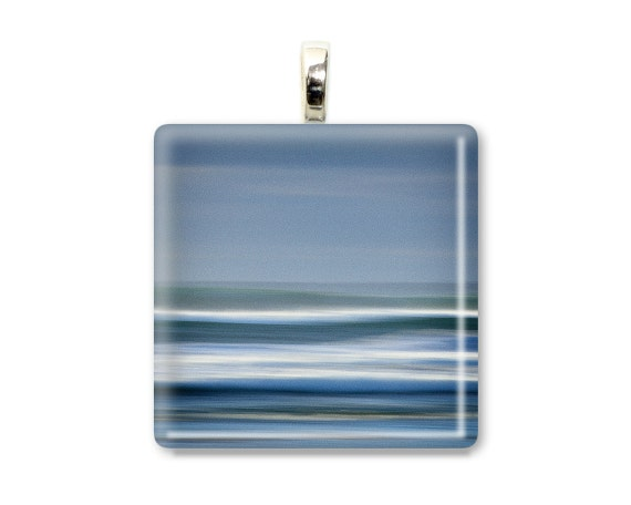 "Ocean Photo Jewelry ""Into the Surf"" Photo Pendant Photo Necklace Art Jewelry Art Necklace Art Pendant Blue White Sea Wearable Art Glass Tile"