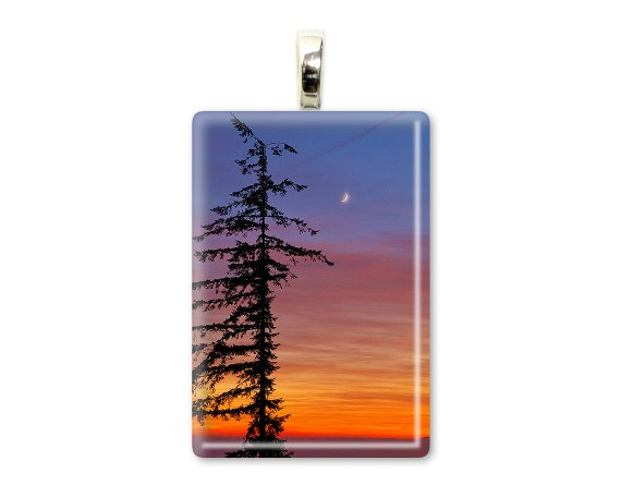 "Tree Photo Pendant ""Standing Tall"" Tree Jewelry,Tree Necklace,Nature Pendant,Nature Jewelry,Nature Necklace,Orange&Purple Sunset,Moon Photo"