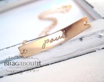 Hand Stamped Gold ID Bracelet . Personalized Bracelet . Hand Stamped Bracelet . Name Bracelet . Brag About It . Brag Bracelet