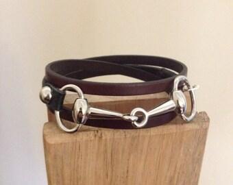 Snaffle Bit Triple Wrap Bracelet