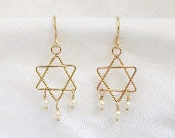 Gold Star of David and Pearl or Gemstone Earrings