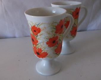 Vintage Poppy Coffee Mugs  by Imperial Cheerfull Orange Poppies