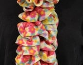 Fleecy Ruffle Scarf for Girls, Pink, Blue and Yellow Flowers