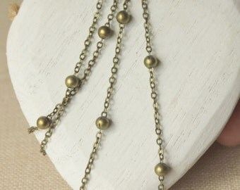 Antiqued Brass chain necklace, brass satelite chain, choose 14 inch - 40 inch, thin delicate solid brass, link 2mm, soldered link SF150