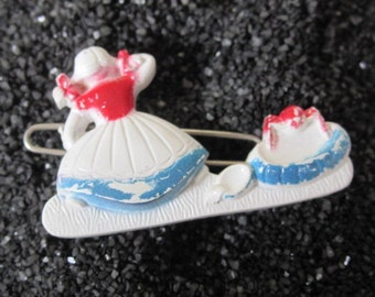 vintage barrette, Nursery Rhythms Little miss Muffet