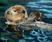 """Wildlife Giclee Print, Otter Print, Daily Painting, """"Playful Otter"""" by C Schiff, free shipping"""