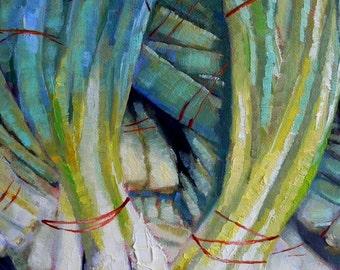Vegetable Art Print, Green Onions Giclee, Scallions Print, green, aqua, free shipping