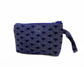 Indigo Wristlet -  Mini Purse -  Handbag - Fabric Wristlet - Navy Blue Wristlet - Gift for Her - Wedding Bag - Blue Fabric Wristlet - Purse