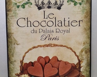 Chocolate Hearts French Country Paris Custom Wood Shelf Sitter Artblock Wall Plaque Sign