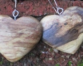 Earrings in Rare Incredible Wood Valentine Heart   Boho Natural  Wood 1 1/2 in.  tall.Jewelry  (0620)