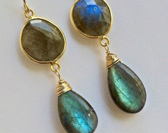 Labradorite Dangle Earrings Wire Wrap Statement Earrings Labradorite Bezel Set Gemstone Long Earrings