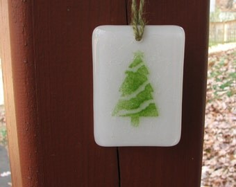 Green Christmas Tree Fused Glass Ornament 2