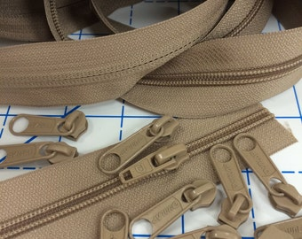 Tan Purse Zippers by the yard. 2yds with 8pulls each size 3mm & 5mm