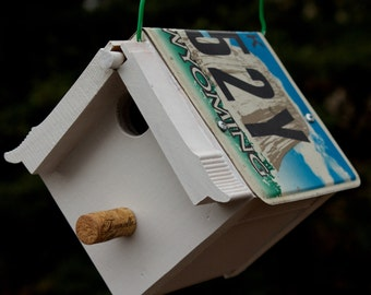 Upcycled WY License Plate Bird House Nest Box For Black-capped Chickadees or Carolina Wrens gardening nest gift for your birder friend