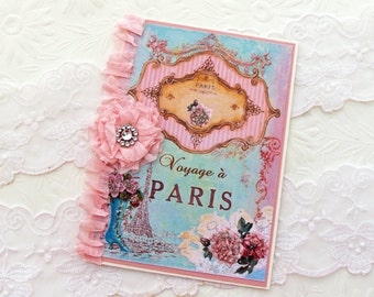 French Card, Paris Card,Shabby Vintage Card, Vintage Birthday, Bon Voyage,Bridal Shower, Pink Seam Binding Flower, French Turquoise Boot,