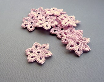 15 Crochet Flower Appliques -- 1-3/8 inch Diameter, in Pale Pink