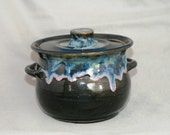 Bean Pot with lid,  Personal Baker Dish, Handmade Pottery Black with shino accents