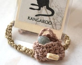"Kangaroo Totem Message Card, Bracelet Set for Men and Women - Handmade OOAK - Hemp, Jute,  Fits up to 8"", Free US Shipping, Gift Set"