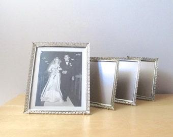 four gold filigree picture frames vintage metal frames 5 x 7 and 8 x 10 wedding decor