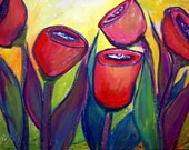Original Modern Flowers Whimsical Tulips in Pink, Red, Purple Colors Painting  by Luiza Vizoli