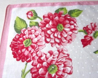 Vintage Handkerchief Hanky Hankie Zinnias Red Pink Floral 1960's Accessory