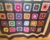 Brown Traditional Granny Square Afghan with Funky Multiple Colors with Brown Border