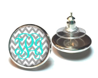 Monogram Earrings Light Grey Chevron Turquoise (383)