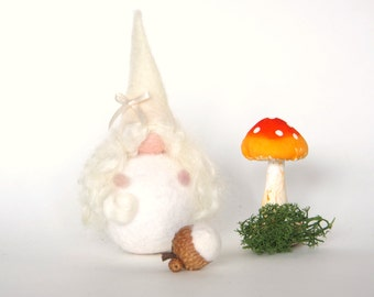 Winter Fairy, Needle Felted Christmas Faerie, Snow Queen, White Doll.
