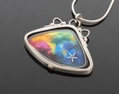 Small Cloisonne Galaxy Shell Pendant 2, Sterling Silver with 18K Bi-Metal Accent Tabs