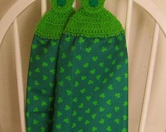 2 Crocheted Hanging St. Patricks Day Microfiber Kitchen Towels - Shamrocks