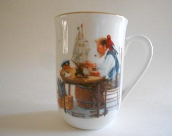 Vintage 1982 Norman Rockwell Mug Cup For A Good Boy Collectible Mug Norman Rockwell Museum Porcelain Mug