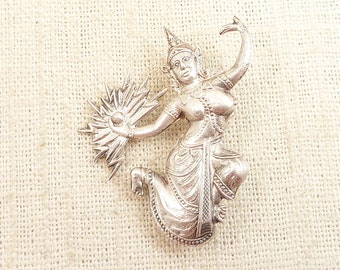 "Vintage Siam Sterling ""Manimekhala"" Lightning Goddess Brooch"