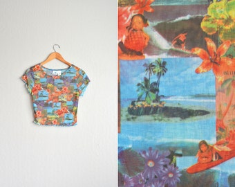 vintage '90s SHEER HAWAIIAN photo COLLAGE print club kid short sleeve crop top. size xs.
